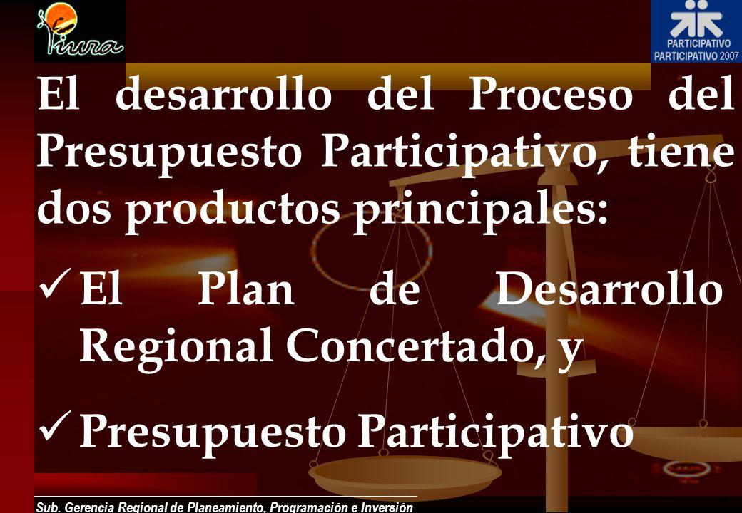 Sub. Gerencia Regional de Planeamiento, Programación e Inversión El desarrollo del Proceso del Presupuesto Participativo, tiene dos productos principa