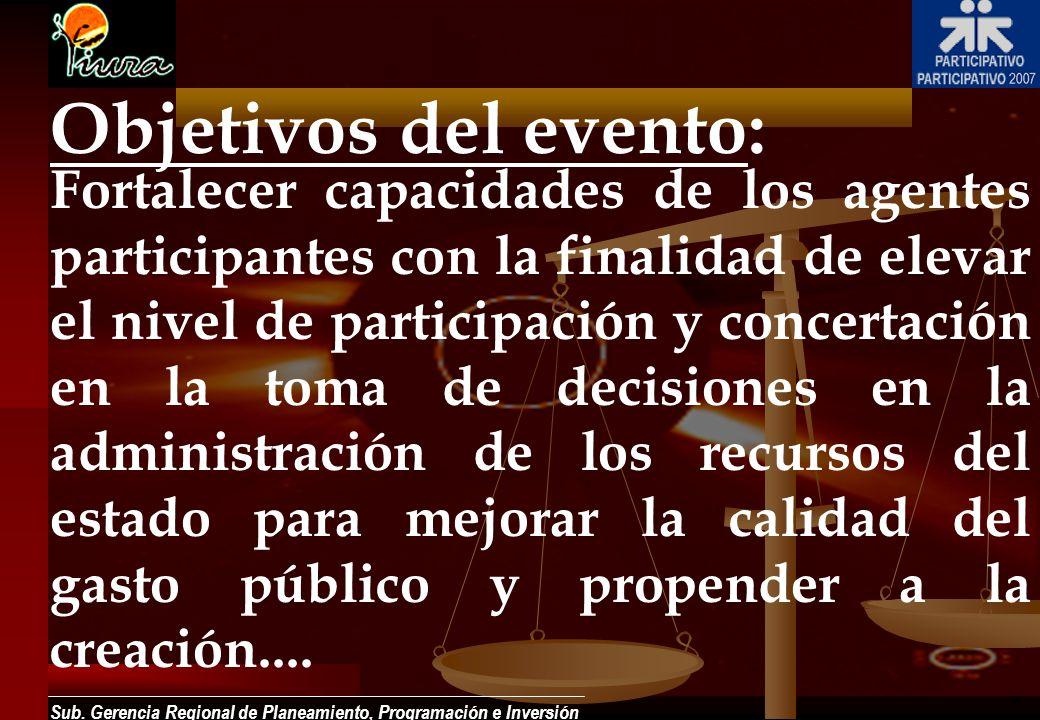 Sub. Gerencia Regional de Planeamiento, Programación e Inversión Objetivos del evento: Fortalecer capacidades de los agentes participantes con la fina