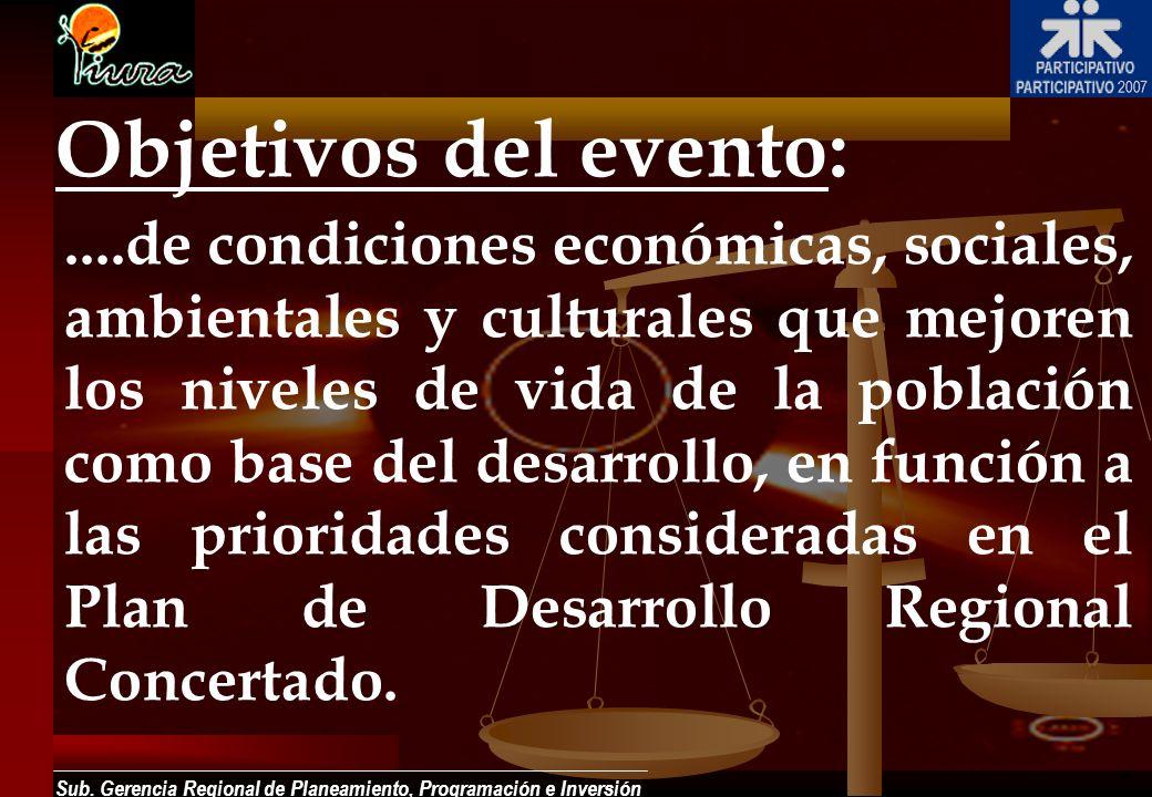 Sub. Gerencia Regional de Planeamiento, Programación e Inversión....de condiciones económicas, sociales, ambientales y culturales que mejoren los nive