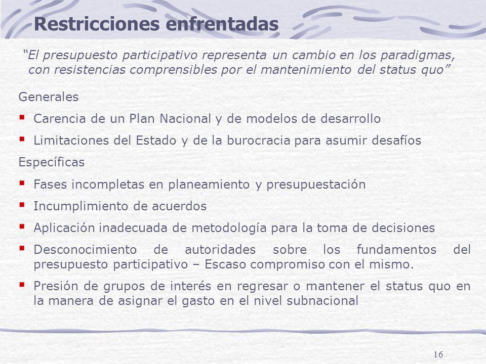 16 Generales Carencia de un Plan Nacional y de modelos de desarrollo Limitaciones del Estado y de la burocracia para asumir desafíos Específicas Fases incompletas en planeamiento y presupuestación Incumplimiento de acuerdos Aplicación inadecuada de metodología para la toma de decisiones Desconocimiento de autoridades sobre los fundamentos del presupuesto participativo – Escaso compromiso con el mismo.