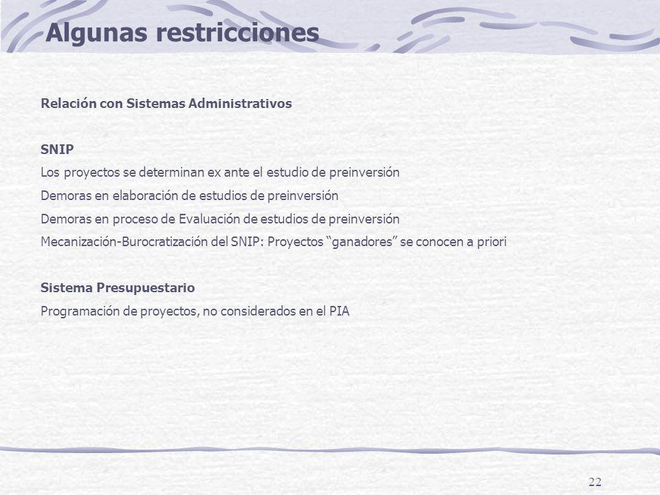 22 Algunas restricciones Relación con Sistemas Administrativos SNIP Los proyectos se determinan ex ante el estudio de preinversión Demoras en elaborac