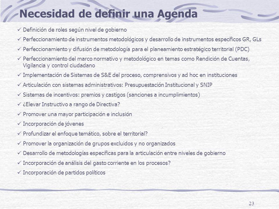23 Necesidad de definir una Agenda Definición de roles según nivel de gobierno Perfeccionamiento de instrumentos metodológicos y desarrollo de instrum