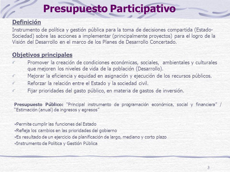 3 Presupuesto Público: Principal instrumento de programación económica, social y financiera / Estimación (anual) de ingresos y egresos Permite cumplir
