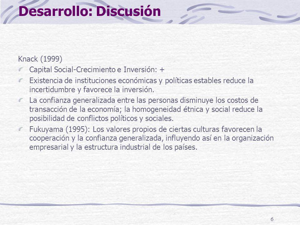 6 Knack (1999) Capital Social-Crecimiento e Inversión: + Existencia de instituciones económicas y políticas estables reduce la incertidumbre y favorec