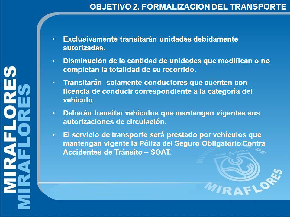 Exclusivamente transitarán unidades debidamente autorizadas.