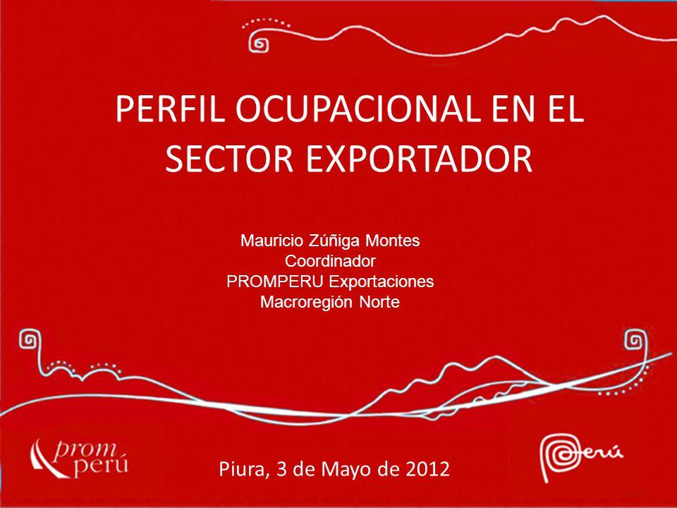 PERFIL OCUPACIONAL EN EL SECTOR EXPORTADOR Mauricio Zúñiga Montes Coordinador PROMPERU Exportaciones Macroregión Norte Piura, 3 de Mayo de 2012