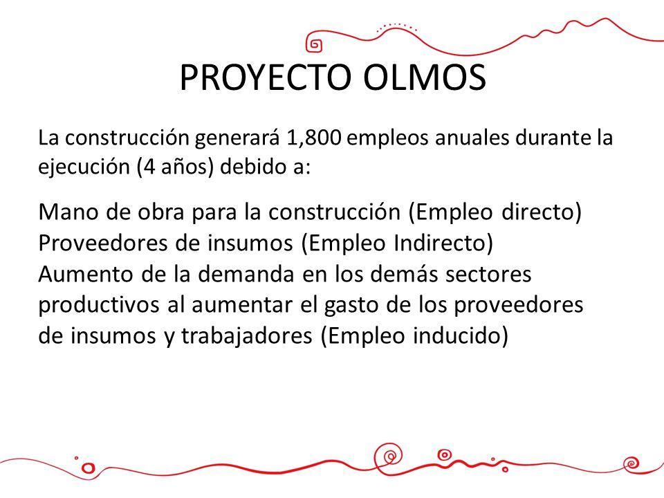 PROYECTO OLMOS Mano de obra para la construcción (Empleo directo) Proveedores de insumos (Empleo Indirecto) Aumento de la demanda en los demás sectore