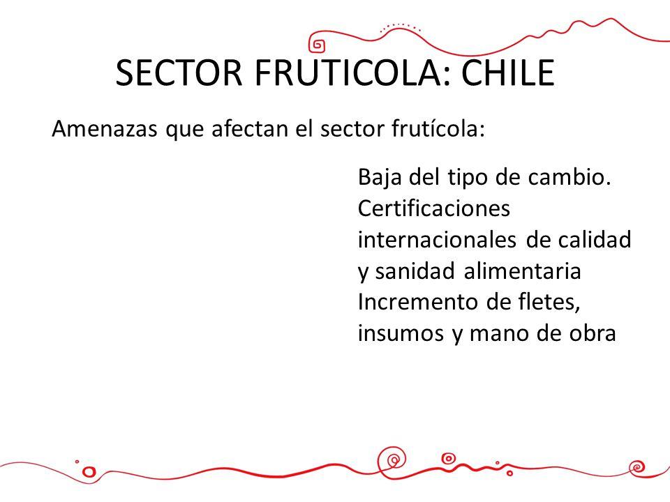 SECTOR FRUTICOLA: CHILE Baja del tipo de cambio. Certificaciones internacionales de calidad y sanidad alimentaria Incremento de fletes, insumos y mano