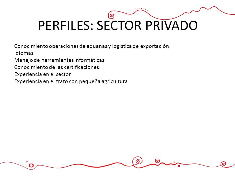 PERFILES: SECTOR PRIVADO Conocimiento operaciones de aduanas y logística de exportación. Idiomas Manejo de herramientas informáticas Conocimiento de l