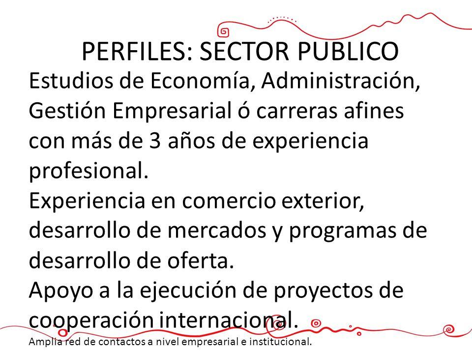 PERFILES: SECTOR PUBLICO Estudios de Economía, Administración, Gestión Empresarial ó carreras afines con más de 3 años de experiencia profesional. Exp
