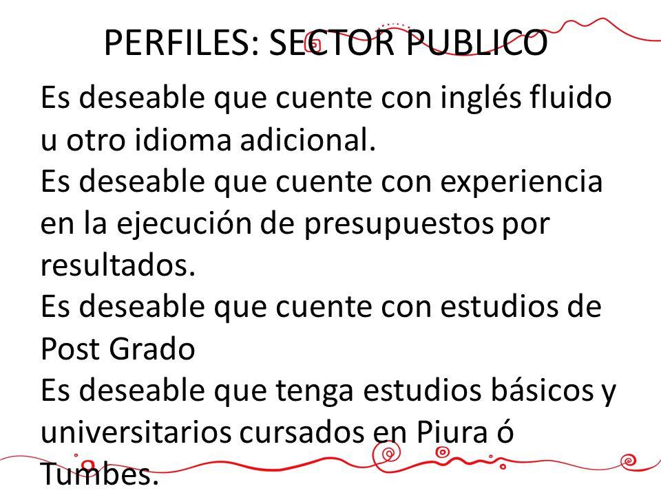 PERFILES: SECTOR PUBLICO Es deseable que cuente con inglés fluido u otro idioma adicional. Es deseable que cuente con experiencia en la ejecución de p