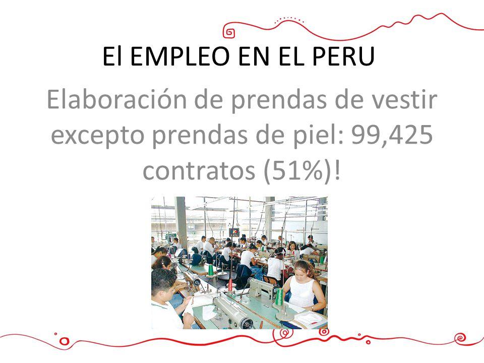Elaboración de prendas de vestir excepto prendas de piel: 99,425 contratos (51%)! El EMPLEO EN EL PERU