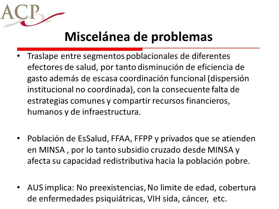 Miscelánea de problemas Traslape entre segmentos poblacionales de diferentes efectores de salud, por tanto disminución de eficiencia de gasto además d