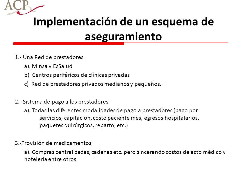 Implementación de un esquema de aseguramiento 1.- Una Red de prestadores a). Minsa y EsSalud b) Centros periféricos de clínicas privadas c) Red de pre