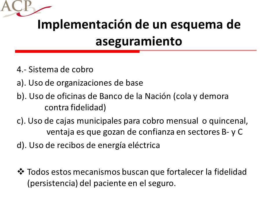 Implementación de un esquema de aseguramiento 4.- Sistema de cobro a). Uso de organizaciones de base b). Uso de oficinas de Banco de la Nación (cola y