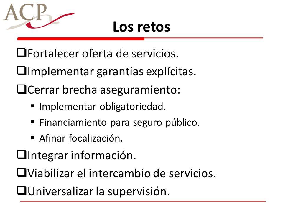 Los retos Fortalecer oferta de servicios. Implementar garantías explícitas. Cerrar brecha aseguramiento: Implementar obligatoriedad. Financiamiento pa