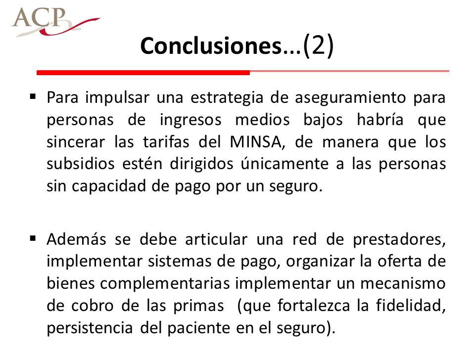 Conclusiones …(2) Para impulsar una estrategia de aseguramiento para personas de ingresos medios bajos habría que sincerar las tarifas del MINSA, de m