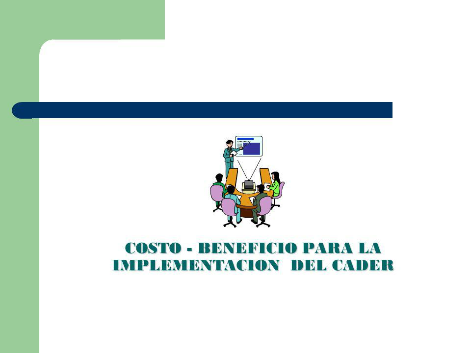 COSTO - BENEFICIO PARA LA IMPLEMENTACION DEL CADER
