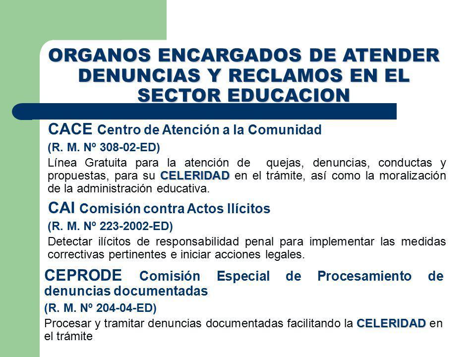 ORGANOS ENCARGADOS DE ATENDER DENUNCIAS Y RECLAMOS EN EL SECTOR EDUCACION CACE Centro de Atención a la Comunidad (R.