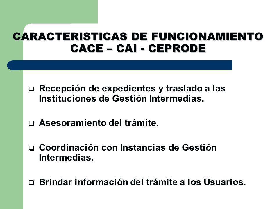 CARACTERISTICAS DE FUNCIONAMIENTO CACE – CAI - CEPRODE Recepción de expedientes y traslado a las Instituciones de Gestión Intermedias.