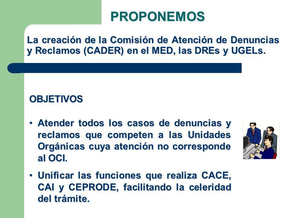 PROPONEMOS La creación de la Comisión de Atención de Denuncias y Reclamos (CADER) en el MED, las DREs y UGELs.