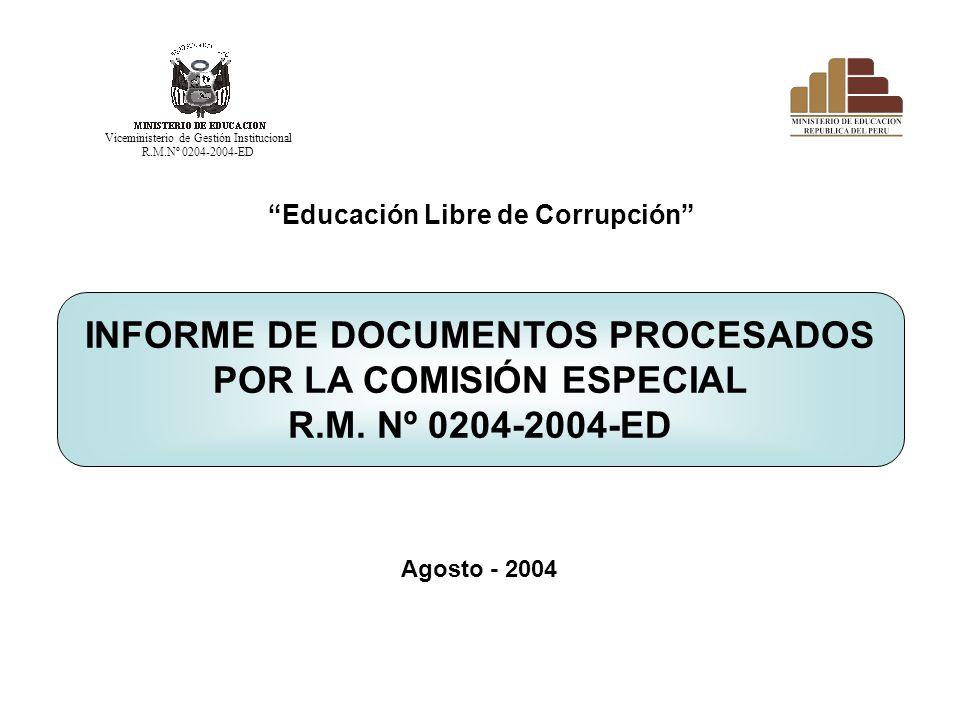 Educación Libre de Corrupción INFORME DE DOCUMENTOS PROCESADOS POR LA COMISIÓN ESPECIAL R.M. Nº 0204-2004-ED Agosto - 2004 Viceministerio de Gestión I