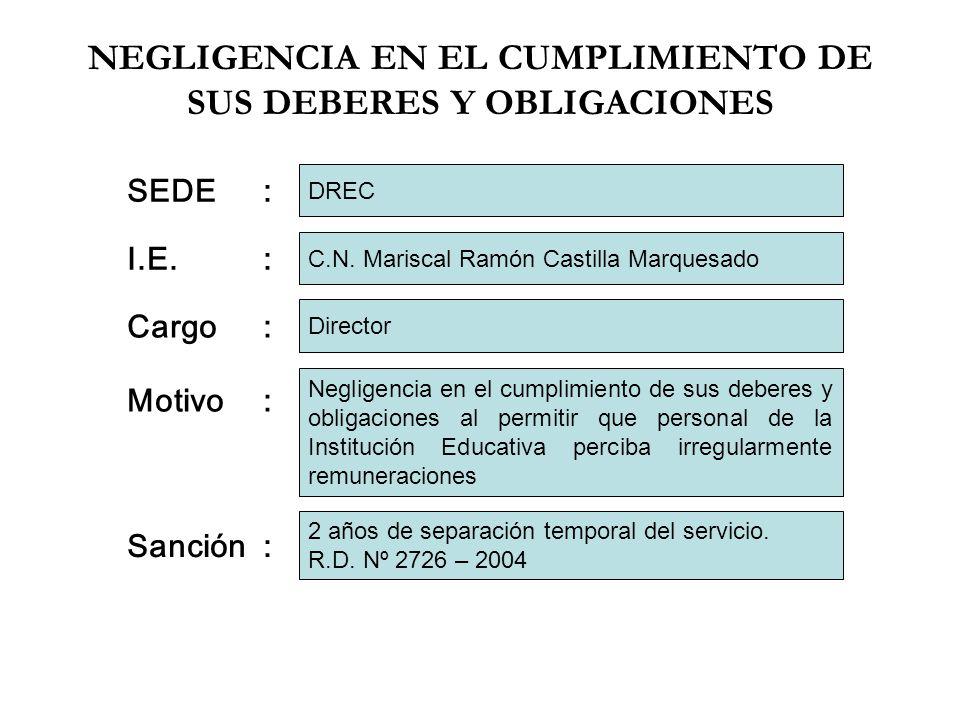 NEGLIGENCIA EN EL CUMPLIMIENTO DE SUS DEBERES Y OBLIGACIONES I.E.: Cargo: Motivo: Sanción: C.N. Mariscal Ramón Castilla Marquesado Director Negligenci