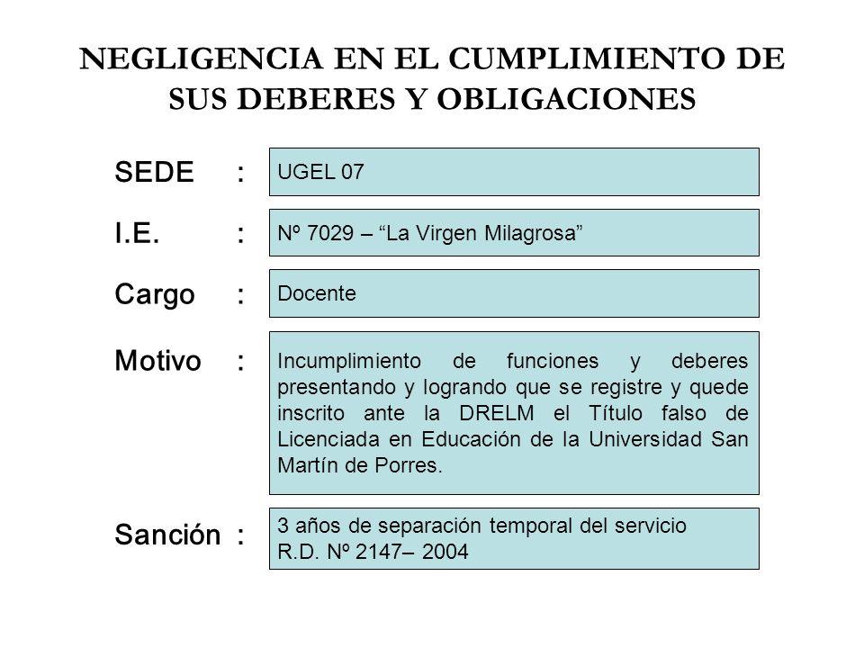 NEGLIGENCIA EN EL CUMPLIMIENTO DE SUS DEBERES Y OBLIGACIONES I.E.: Cargo: Motivo: Nº 7029 – La Virgen Milagrosa Docente Incumplimiento de funciones y