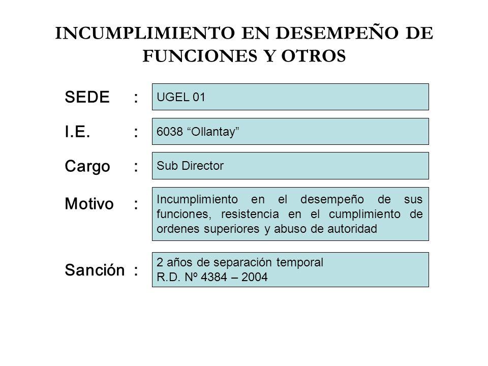 INCUMPLIMIENTO EN DESEMPEÑO DE FUNCIONES Y OTROS I.E.: Cargo: Motivo: 6038 Ollantay Sub Director Incumplimiento en el desempeño de sus funciones, resi