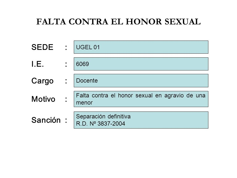 FALTA CONTRA EL HONOR SEXUAL I.E.: Cargo: Motivo: 6069 Docente Falta contra el honor sexual en agravio de una menor SEDE: UGEL 01 Sanción: Separación