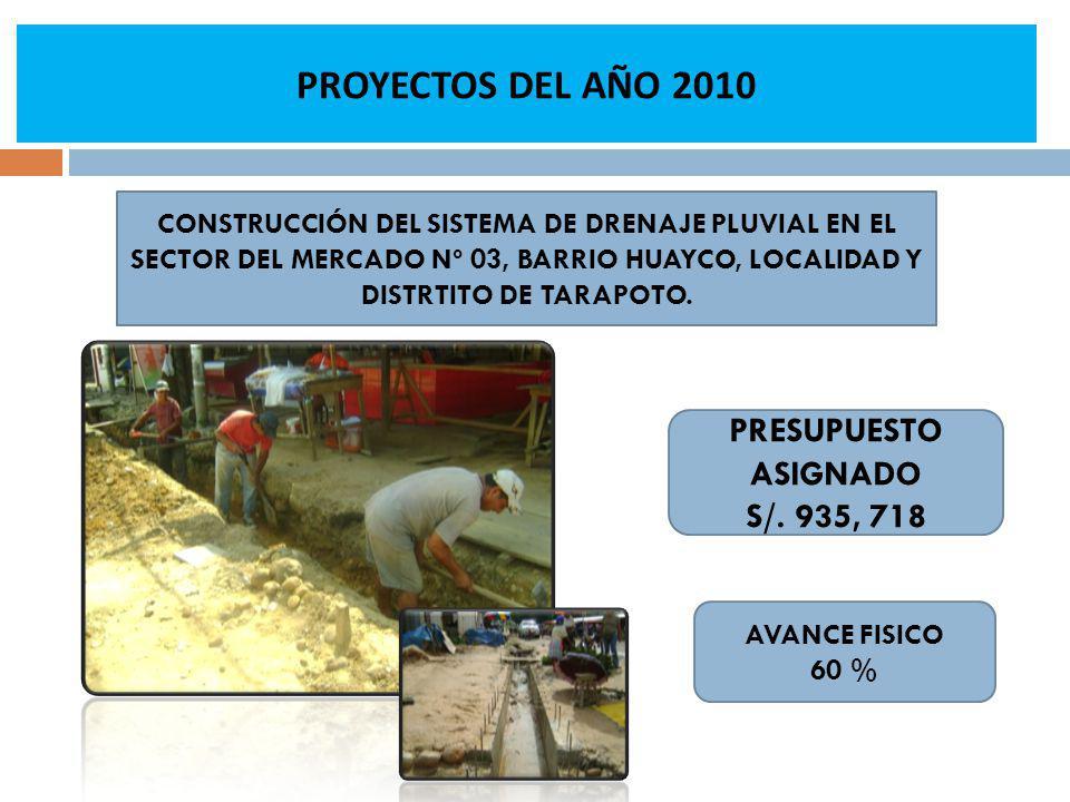 AVANCE FISICO 60 % CONSTRUCCIÓN DEL SISTEMA DE DRENAJE PLUVIAL EN EL SECTOR DEL MERCADO Nº 03, BARRIO HUAYCO, LOCALIDAD Y DISTRTITO DE TARAPOTO. PRESU