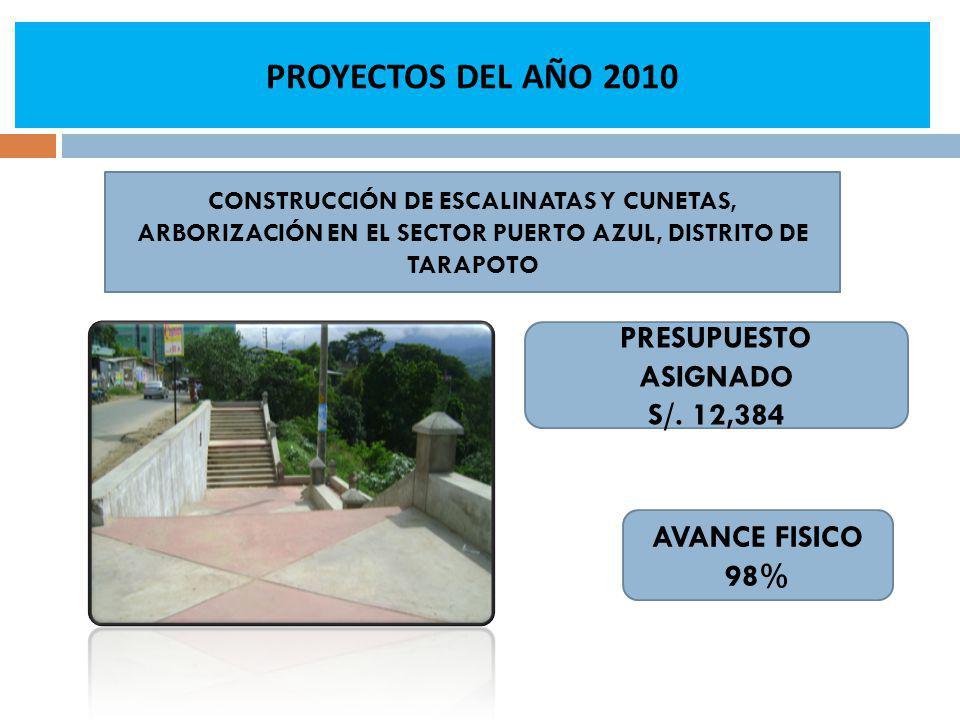 PROYECTOS DEL AÑO 2010 AVANCE FISICO 98% CONSTRUCCIÓN DE ESCALINATAS Y CUNETAS, ARBORIZACIÓN EN EL SECTOR PUERTO AZUL, DISTRITO DE TARAPOTO PRESUPUESTO ASIGNADO S/.