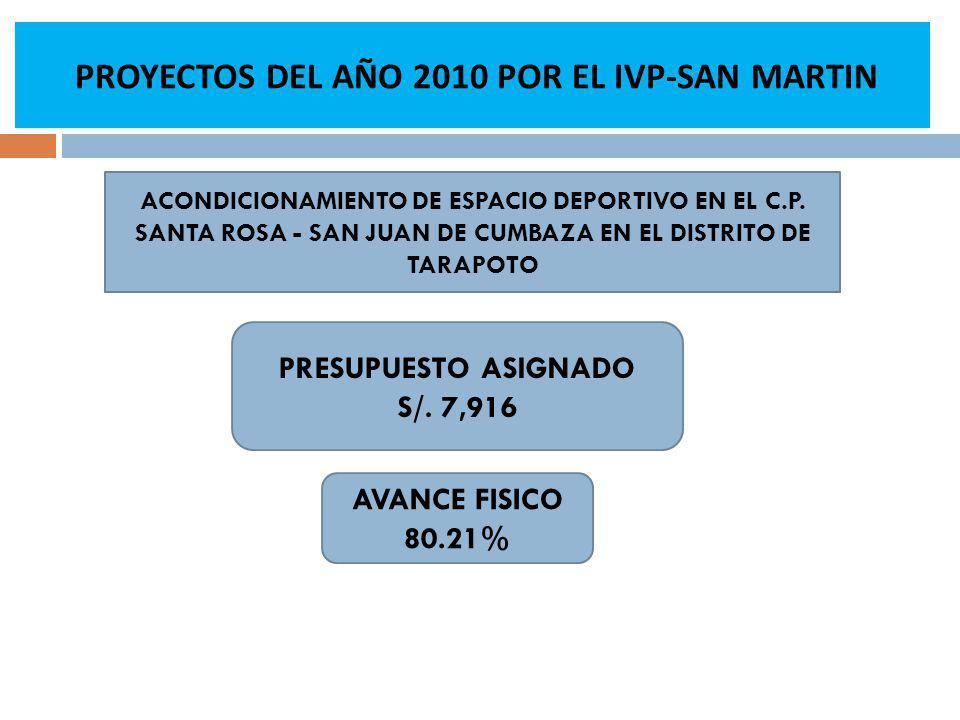 PROYECTOS DEL AÑO 2010 POR EL IVP-SAN MARTIN AVANCE FISICO 80.21% ACONDICIONAMIENTO DE ESPACIO DEPORTIVO EN EL C.P.