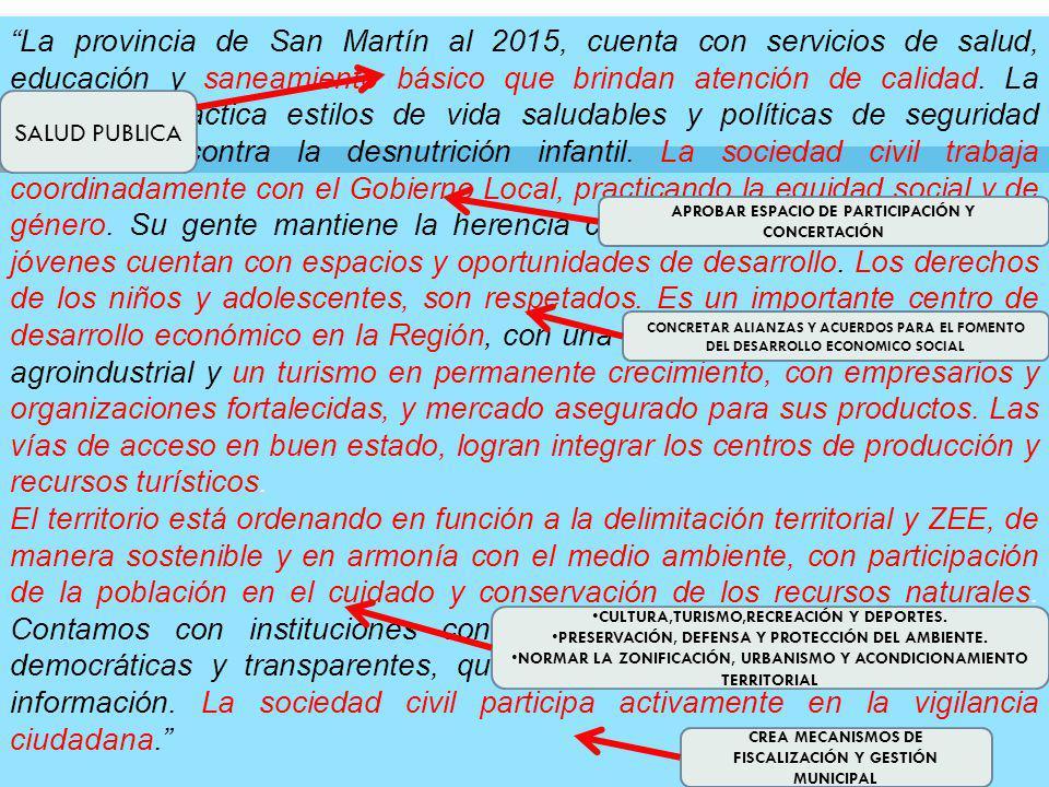 La provincia de San Martín al 2015, cuenta con servicios de salud, educación y saneamiento básico que brindan atención de calidad.
