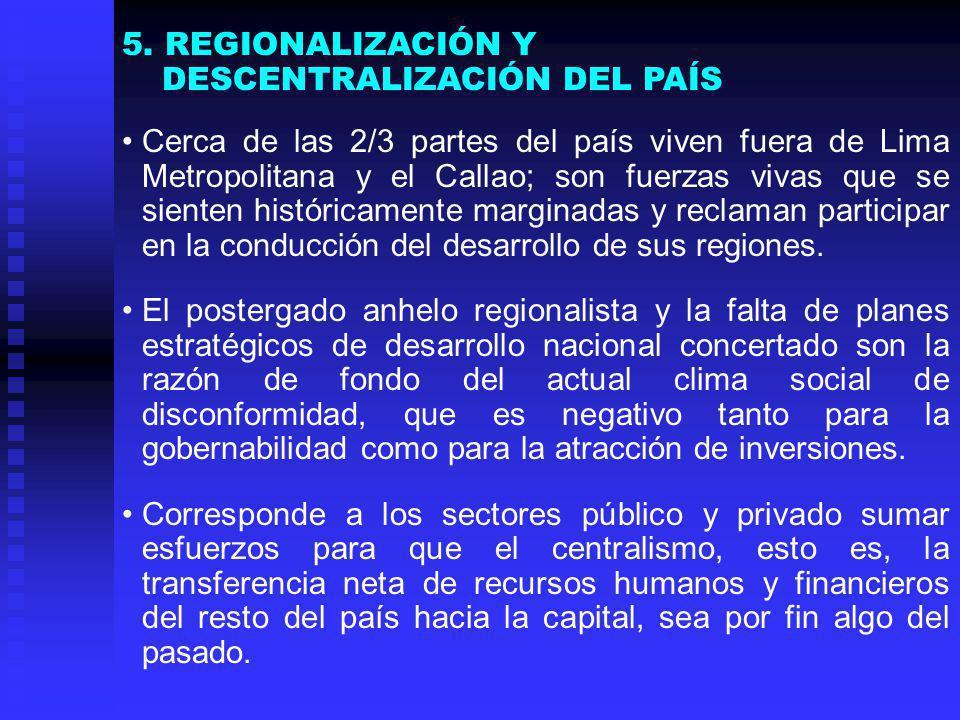 Cerca de las 2/3 partes del país viven fuera de Lima Metropolitana y el Callao; son fuerzas vivas que se sienten históricamente marginadas y reclaman participar en la conducción del desarrollo de sus regiones.