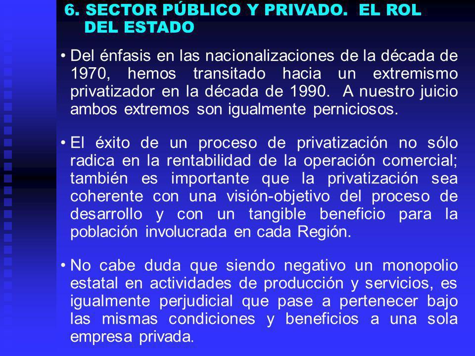 Del énfasis en las nacionalizaciones de la década de 1970, hemos transitado hacia un extremismo privatizador en la década de 1990.