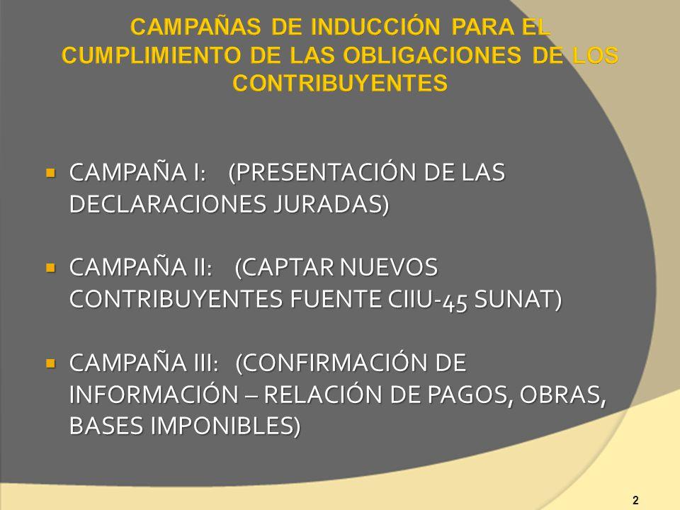 2 CAMPAÑA I: (PRESENTACIÓN DE LAS DECLARACIONES JURADAS) CAMPAÑA I: (PRESENTACIÓN DE LAS DECLARACIONES JURADAS) CAMPAÑA II: (CAPTAR NUEVOS CONTRIBUYENTES FUENTE CIIU-45 SUNAT) CAMPAÑA II: (CAPTAR NUEVOS CONTRIBUYENTES FUENTE CIIU-45 SUNAT) CAMPAÑA III: (CONFIRMACIÓN DE INFORMACIÓN – RELACIÓN DE PAGOS, OBRAS, BASES IMPONIBLES) CAMPAÑA III: (CONFIRMACIÓN DE INFORMACIÓN – RELACIÓN DE PAGOS, OBRAS, BASES IMPONIBLES)