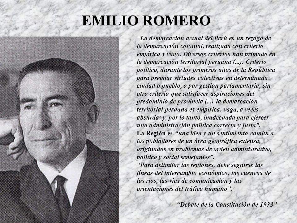 EMILIO ROMERO La demarcación actual del Perú es un rezago de la demarcación colonial, realizada con criterio empírico y vago.