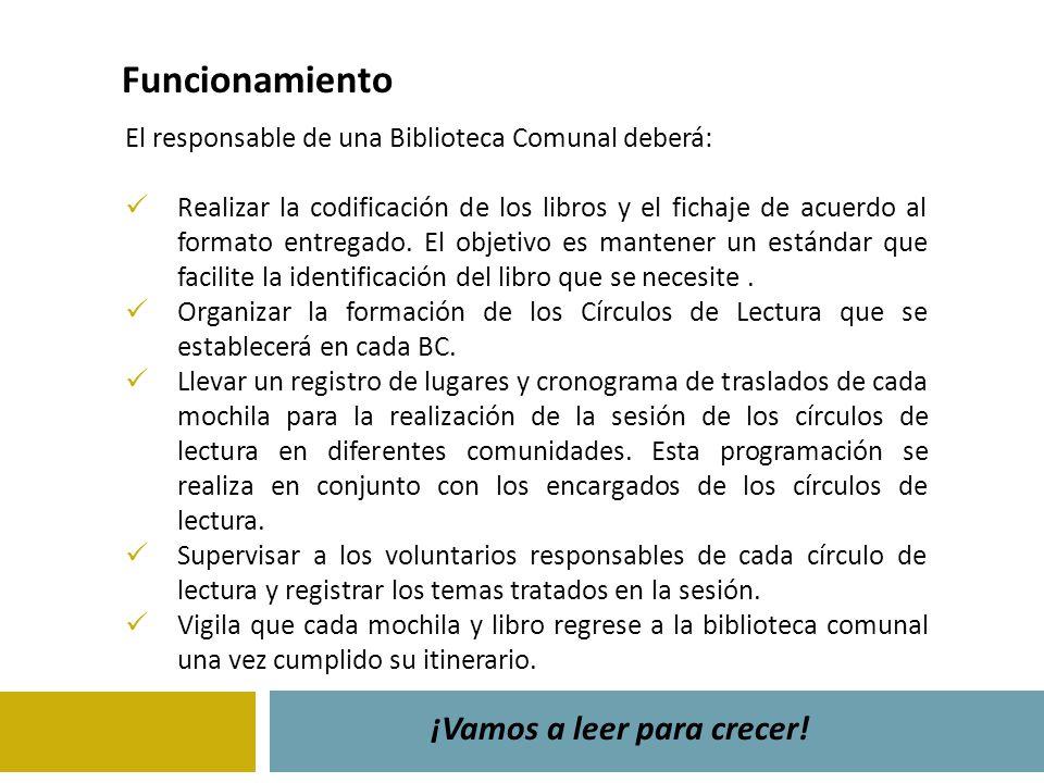 El responsable de una Biblioteca Comunal deberá: Realizar la codificación de los libros y el fichaje de acuerdo al formato entregado. El objetivo es m