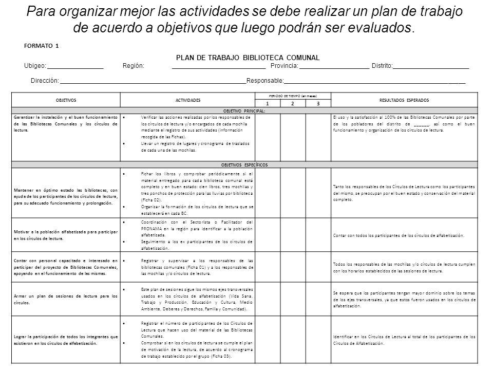 Para organizar mejor las actividades se debe realizar un plan de trabajo de acuerdo a objetivos que luego podrán ser evaluados. PLAN DE TRABAJO BIBLIO