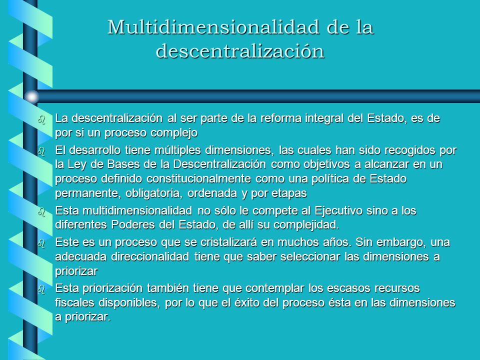 Multidimensionalidad de la descentralización b La descentralización al ser parte de la reforma integral del Estado, es de por si un proceso complejo b