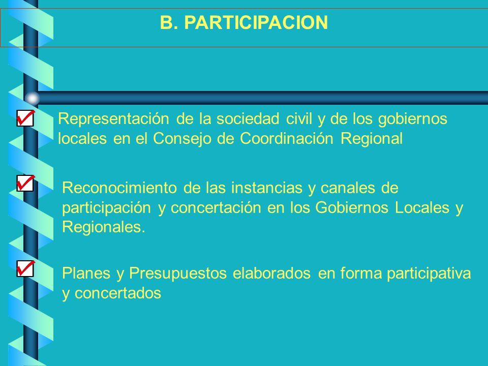 B. PARTICIPACION Representación de la sociedad civil y de los gobiernos locales en el Consejo de Coordinación Regional Reconocimiento de las instancia