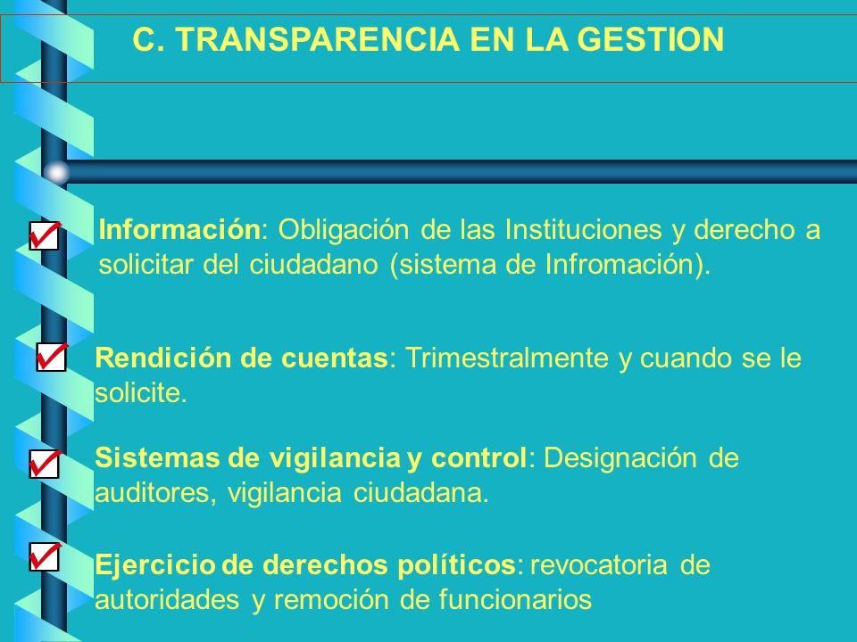 Ejercicio de derechos políticos: revocatoria de autoridades y remoción de funcionarios C. TRANSPARENCIA EN LA GESTION Sistemas de vigilancia y control