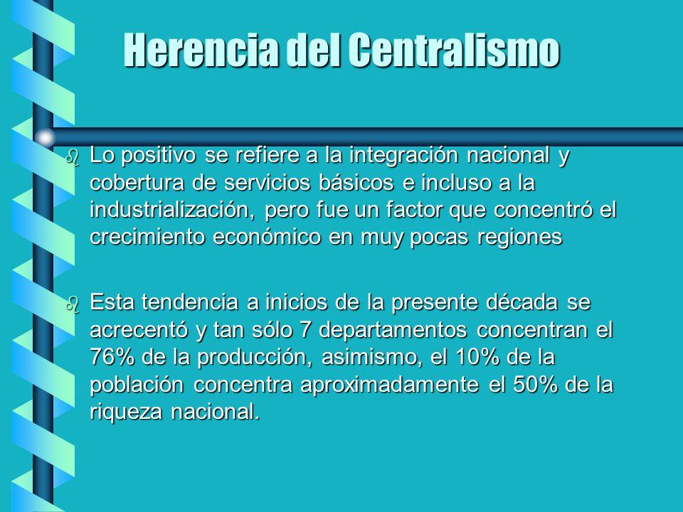 Herencia del Centralismo b Lo positivo se refiere a la integración nacional y cobertura de servicios básicos e incluso a la industrialización, pero fu