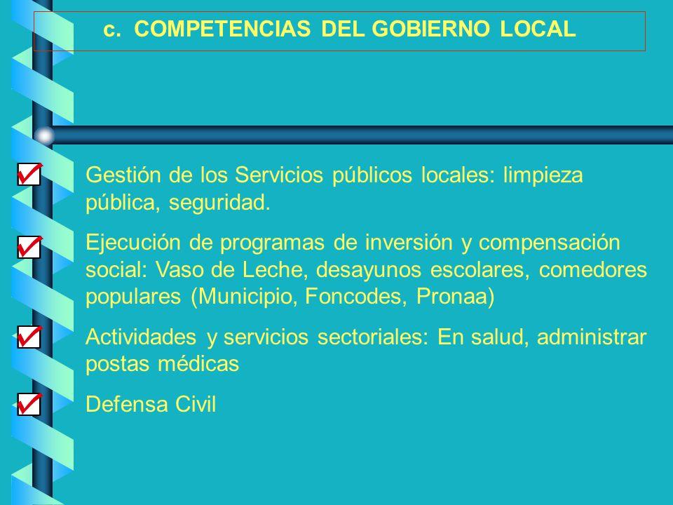 Gestión de los Servicios públicos locales: limpieza pública, seguridad. Ejecución de programas de inversión y compensación social: Vaso de Leche, desa