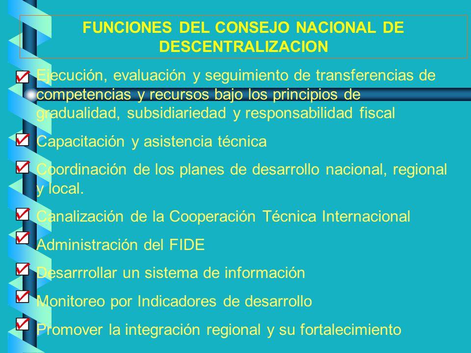 Ejecución, evaluación y seguimiento de transferencias de competencias y recursos bajo los principios de gradualidad, subsidiariedad y responsabilidad