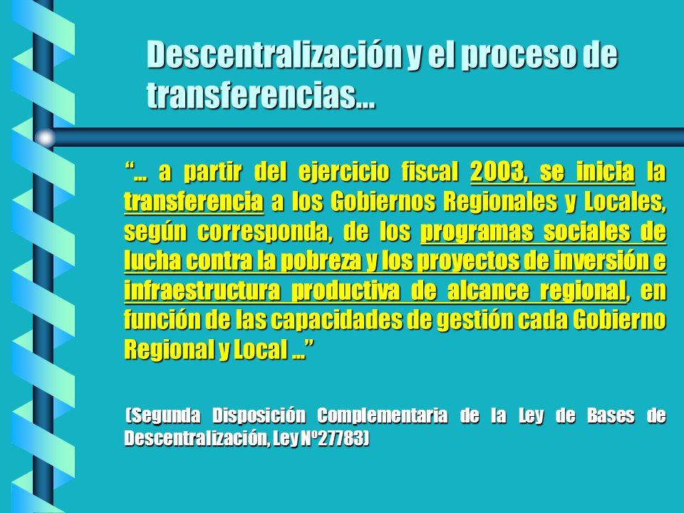 ... a partir del ejercicio fiscal 2003, se inicia la transferencia a los Gobiernos Regionales y Locales, según corresponda, de los programas sociales