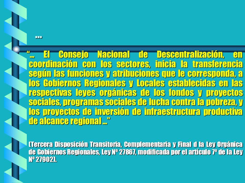 ...... El Consejo Nacional de Descentralización, en coordinación con los sectores, inicia la transferencia según las funciones y atribuciones que le c