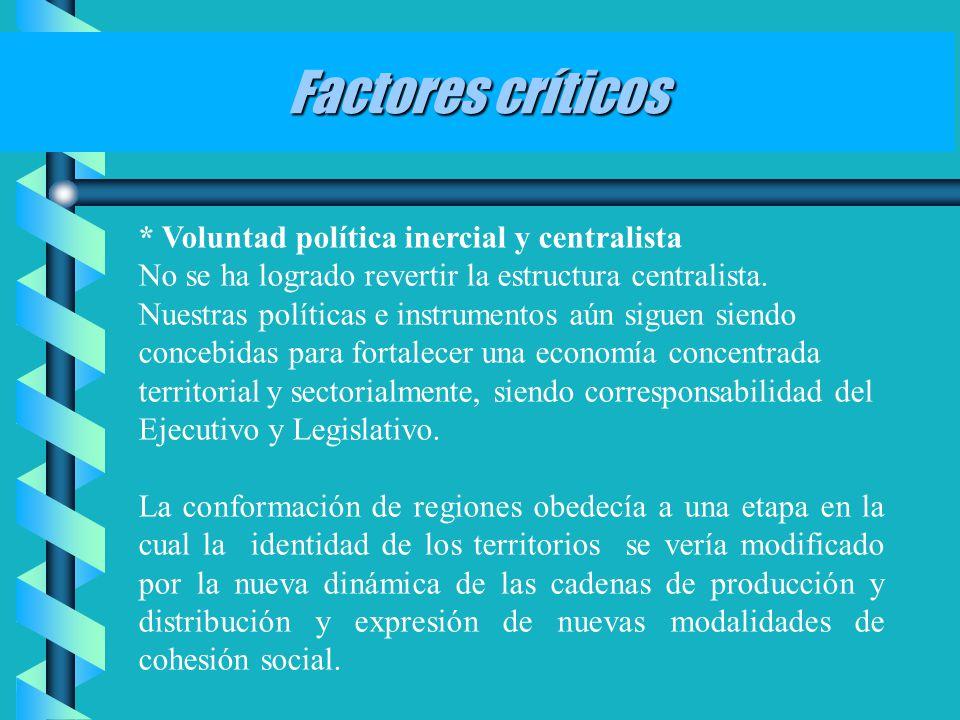* Voluntad política inercial y centralista No se ha logrado revertir la estructura centralista. Nuestras políticas e instrumentos aún siguen siendo co