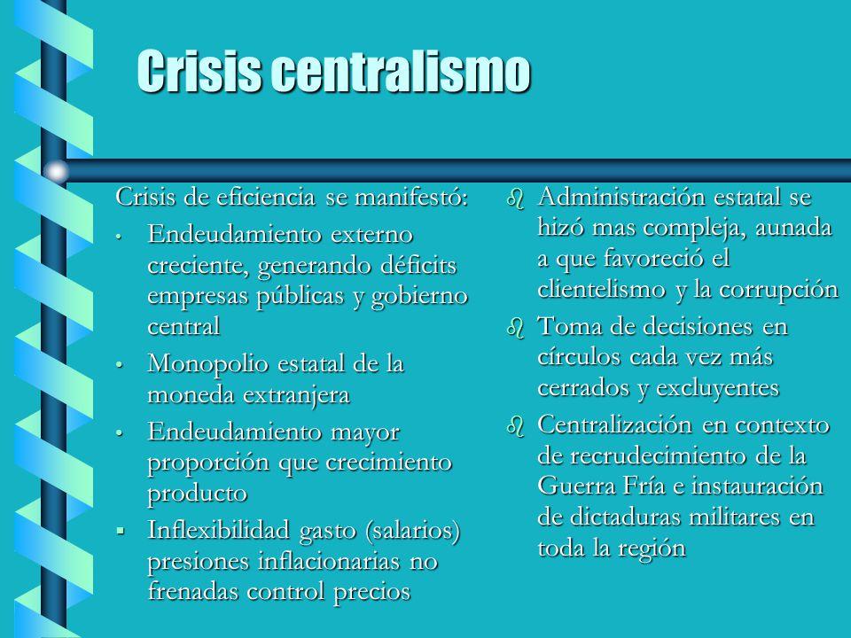 Crisis centralismo Crisis de eficiencia se manifestó: Endeudamiento externo creciente, generando déficits empresas públicas y gobierno central Endeuda